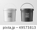 Vector Realistic 3d White and Black Plastic Bucket Set for Food Products, Paint, Foodstuff 49573813