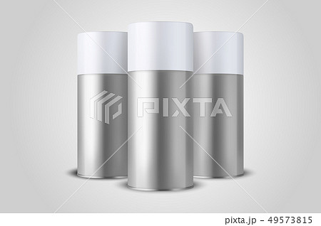 Vector 3d Realistic Silver Blank Spray Can, Bottle Set Closeup Isolated on White Background. Design 49573815