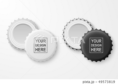 Vector 3d Realistic Black and White Blank Beer Bottle Cap Set Closeup Isolated on White Background 49573819