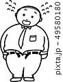 メタボの男性 白黒ぬり絵 49580180