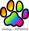 足跡 犬 レインボー 黒縁 49580542