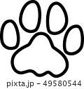 足跡 犬 レインボー 白黒ぬり絵 49580544