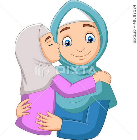 Muslim girl kissing her mother's cheek 49583184
