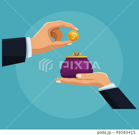 Hand inserting coin tu purse 49583415