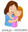 Cartoon happy mother hugging her daughter 49583894