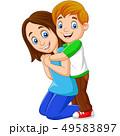 Cartoon happy boy hugging his mother 49583897
