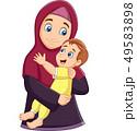 Muslim mother hugging her son 49583898
