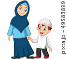 Cartoon Muslim mother with her son 49583899