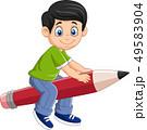Cartoon boy riding a flying pencil 49583904