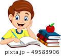 Cartoon little boy studying 49583906