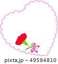 母の日メッセージカード ハート カーネーション 49584810