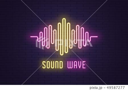 Neon composition of Digital sound wave. Vector 49587277
