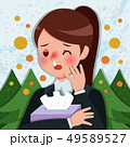 cartoon woman with hay fever 49589527