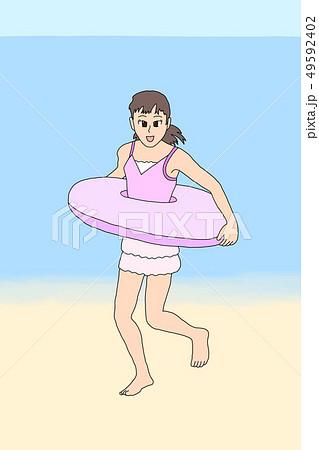 海水浴を楽しむ女の子 49592402