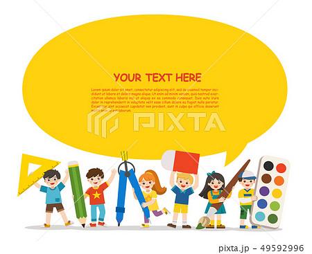 Happy school kids with elements of school. 49592996