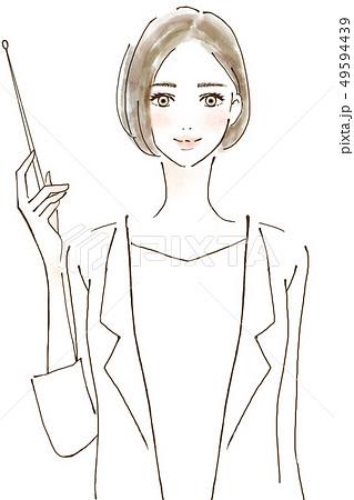 人物 女性 イラスト アドバイス ドクター 美容医師 ポイントを説明する 49594439