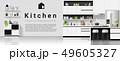 Modern black and white kitchen background 49605327