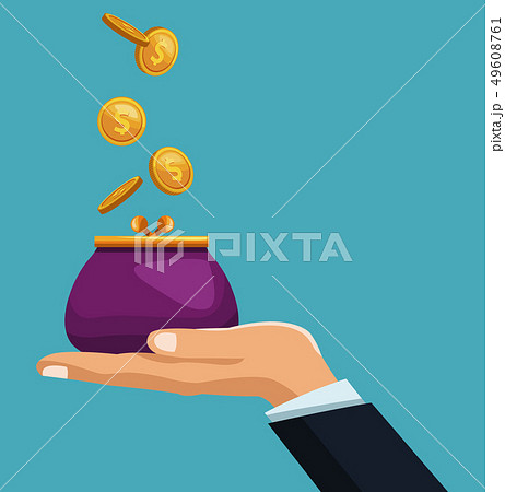 Hand with coin purse 49608761