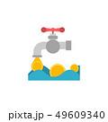 コイン 硬貨 水道の蛇口のイラスト 49609340