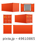 Realistic set of bright red cargo containers.    49610865