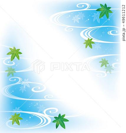 涼しげな水と新緑の和柄 49611212