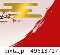 和柄 背景 梅のイラスト 49613717