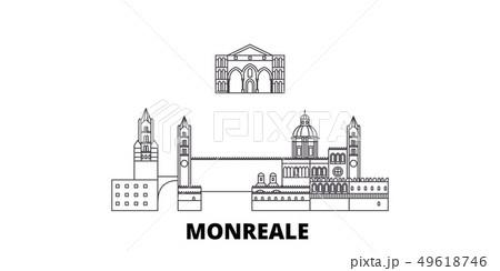 Italy, Monreale line travel skyline set. Italy, Monreale outline city vector illustration, symbol 49618746