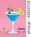 夏のバカンスイメージ カクテルと女性サーファー クラシックカー 、コピースペース 49620728
