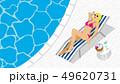 長椅子に寝そべるビキニの女性 プールサイド、俯瞰 - コピースペースあり 49620731