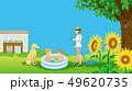 夏の庭 ビニールプールで遊ぶ子供たちと見守る母親と犬 - コピースペースあり 49620735