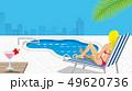 長椅子に座るビキニの女性 プールサイド  - コピースペースあり 49620736