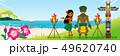 ビーチで踊るフラダンサーカップル 横長 - コピースペースあり 49620740
