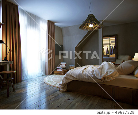 interior bedroom, rustic style 49627529