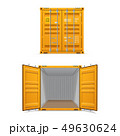 Realistic set of bright yellow cargo containers 49630624