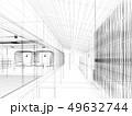 sketch design of interior hall, 3d rendering 49632744