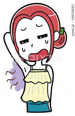 ワキのにおいを気にする女性のイラスト素材 49638681