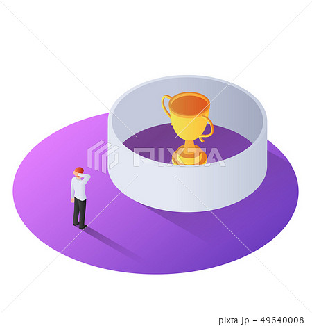 3d isometric businessman standing in front of the 49640008
