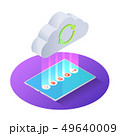 3d isometric tablet pc uploading file to cloud 49640009