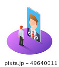 3d isometric businessman having video call with 49640011