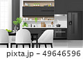 Modern black and white kitchen background 49646596