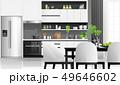 Modern black and white kitchen background 49646602