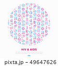 HIV and AIDs concept in circle with thin line icon 49647626