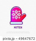 Mitten with ornament thin line icon 49647672