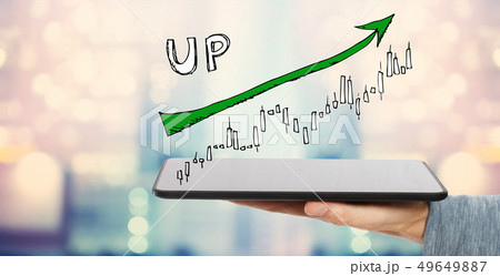 Market up trend chart with tablet computer  49649887