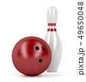 Red bowling ball and pin 49650048