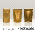 Golden paper or foil food bag package set isolated 49650860
