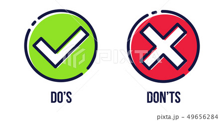 Creative illustration of green tick, red cross isolated on background. Art design with text do and 49656284
