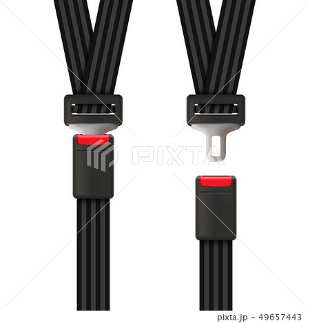 Creative illustration of safety seat belt, open and closed seatbelt isolated on background. Art 49657443