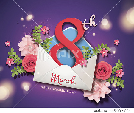 March 8 women's day with envelope 49657775