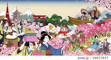 Flower viewing in ukiyo-e style 49657837
